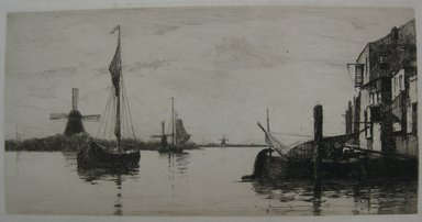 Charles Adams Platt (American, 1861-1933). Evening on the Maas, 1884. Etching on heavy, machine-made Japan paper, Sheet: 17 5/16 x 22 1/2 in. (44 x 57.2 cm). Brooklyn Museum, Gift of Kennedy & Company, 16.447