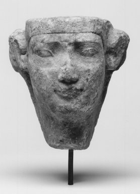 Sculptor's Model of a Male Head. Limestone, 3 5/16 x 3 1/4 in. (8.4 x 8.2 cm). Brooklyn Museum, Gift of Evangeline Wilbour Blashfield, Theodora Wilbour, and Victor Wilbour honoring the wishes of their mother, Charlotte Beebe Wilbour, as a memorial to their father, Charles Edwin Wilbour, 16.51. Creative Commons-BY