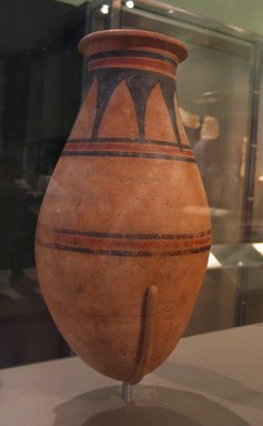 Round-bottomed Jar, ca. 1478-1390 B.C.E. Pottery, painted, 13 x Diam. 6 13/16 in. (33 x 17.3 cm). Brooklyn Museum, Gift of Evangeline Wilbour Blashfield, Theodora Wilbour, and Victor Wilbour honoring the wishes of their mother, Charlotte Beebe Wilbour, as a memorial to their father Charles Edwin Wilbour, 16.580.136. Creative Commons-BY