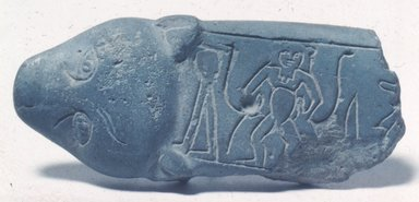 "Fragment of ""Magic Knife,"" ca. 1759-after 1630 B.C.E. Frit, 1 3/8 x 3 9/16 in. (3.5 x 9 cm). Brooklyn Museum, Gift of Evangeline Wilbour Blashfield, Theodora Wilbour, and Victor Wilbour honoring the wishes of their mother, Charlotte Beebe Wilbour, as a memorial to their father, Charles Edwin Wilbour