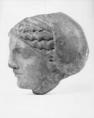Graeco-Egyptian. Head of a Woman, 2nd century B.C.E. Marble, 5 7/8 x 5 1/16 in. (15 x 12.8 cm). Brooklyn Museum, Gift of Evangeline Wilbour Blashfield, Theodora Wilbour, and Victor Wilbour honoring the wishes of their mother, Charlotte Beebe Wilbour, as a memorial to their father, Charles Edwin Wilbour, 16.580.162. Creative Commons-BY