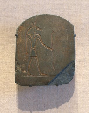 Stela with Image of Seth, ca. 664-30 B.C.E. Slate, 3 7/16 x 2 7/8 in. (8.8 x 7.3 cm). Brooklyn Museum, Gift of Evangeline Wilbour Blashfield, Theodora Wilbour, and Victor Wilbour honoring the wishes of their mother, Charlotte Beebe Wilbour, as a memorial to their father, Charles Edwin Wilbour, 16.580.187. Creative Commons-BY