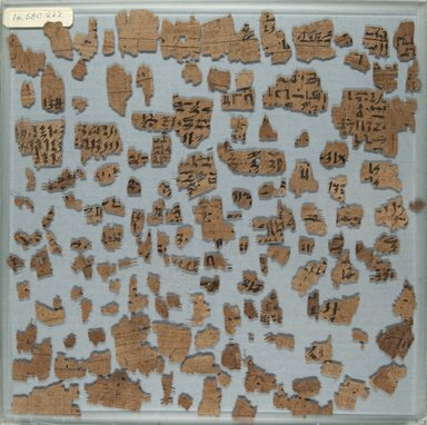 Lot of Assorted Fragments in Hieratic, ca. 2008 - 1630 B.C.E. Papyrus, ink, a: Glass: 12 x 12 in. (30.5 x 30.5 cm). Brooklyn Museum, Gift of Evangeline Wilbour Blashfield, Theodora Wilbour, and Victor Wilbour honoring the wishes of their mother, Charlotte Beebe Wilbour, as a memorial to their father, Charles Edwin Wilbour, 16.580.222a-b
