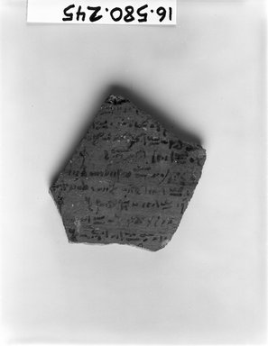 Demotic Ostracon. Terracotta, pigment, 2 9/16 x 5/16 x 2 5/8 in. (6.5 x 0.8 x 6.7 cm). Brooklyn Museum, Gift of Evangeline Wilbour Blashfield, Theodora Wilbour, and Victor Wilbour honoring the wishes of their mother, Charlotte Beebe Wilbour, as a memorial to their father, Charles Edwin Wilbour, 16.580.245. Creative Commons-BY