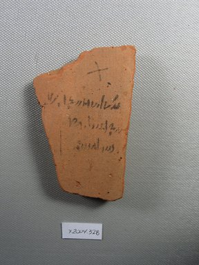 Demotic. Demotic Ostracon, Year 13 (of Ptolemy II Philadelphus?). Terracotta, pigment, 2 3/16 x 7/16 x 3 1/2 in. (5.6 x 1.1 x 8.9 cm). Brooklyn Museum, Gift of Evangeline Wilbour Blashfield, Theodora Wilbour, and Victor Wilbour honoring the wishes of their mother, Charlotte Beebe Wilbour, as a memorial to their father, Charles Edwin Wilbour, 16.580.545. Creative Commons-BY