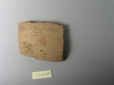 Demotic. Demotic Ostracon, Year 31 (of Ptolemy II Philadelphus). Terracotta, pigment, 3 1/4 x 1/2 x 2 3/4 in. (8.3 x 1.3 x 7 cm). Brooklyn Museum, Gift of Evangeline Wilbour Blashfield, Theodora Wilbour, and Victor Wilbour honoring the wishes of their mother, Charlotte Beebe Wilbour, as a memorial to their father, Charles Edwin Wilbour, 16.580.562. Creative Commons-BY