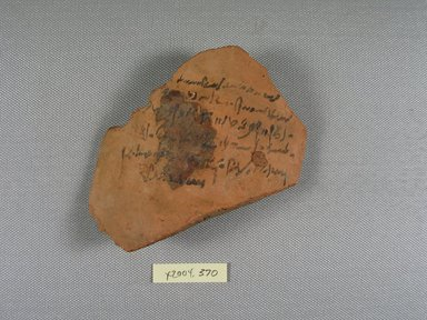 Demotic. Demotic Ostracon, Year 39 of Augustus. Terracotta, pigment, 4 x 3/8 x 4 5/16 in. (10.1 x 0.9 x 10.9 cm). Brooklyn Museum, Gift of Evangeline Wilbour Blashfield, Theodora Wilbour, and Victor Wilbour honoring the wishes of their mother, Charlotte Beebe Wilbour, as a memorial to their father, Charles Edwin Wilbour, 16.580.581. Creative Commons-BY