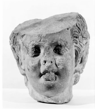 Roman?. Head of a Faun, 1st-2nd century C.E. Marble, 7 11/16 x 6 1/16 in. (19.5 x 15.4 cm). Brooklyn Museum, Gift of Evangeline Wilbour Blashfield, Theodora Wilbour, and Victor Wilbour honoring the wishes of their mother, Charlotte Beebe Wilbour, as a memorial to their father, Charles Edwin Wilbour, 16.630. Creative Commons-BY
