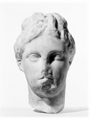 Head, Aphrodite Type. Marble, 7 5/8 x 4 15/16 x 5 11/16 in. (19.3 x 12.5 x 14.5 cm). Brooklyn Museum, Gift of Evangeline Wilbour Blashfield, Theodora Wilbour, and Victor Wilbour honoring the wishes of their mother, Charlotte Beebe Wilbour, as a memorial to their father, Charles Edwin Wilbour, 16.631. Creative Commons-BY