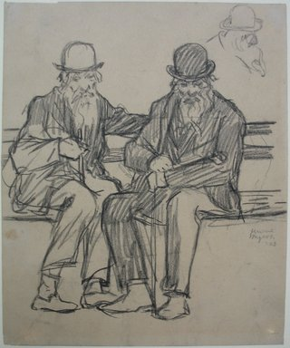 Jerome Myers (American, 1867-1940). Study of Two Old Men, 1903. Charcoal or graphite on paper, Sheet: 7 5/16 x 6 1/16 in. (18.6 x 15.4 cm). Brooklyn Museum, John B. Woodward Memorial Fund, 18.165.2. © Estate of Jerome Myers