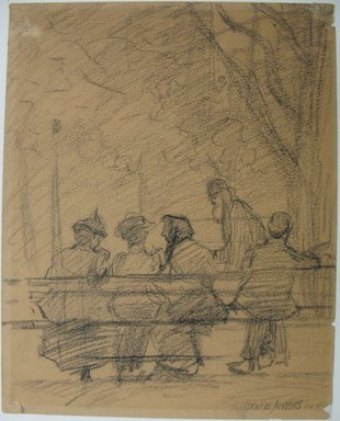 Jerome Myers (American, 1867-1940). Madison Square Bench, 1918. Charcoal on paper, Sheet: 9 5/8 x 7 11/16 in. (24.4 x 19.5 cm). Brooklyn Museum, John B. Woodward Memorial Fund, 18.165.5. © Estate of Jerome Myers