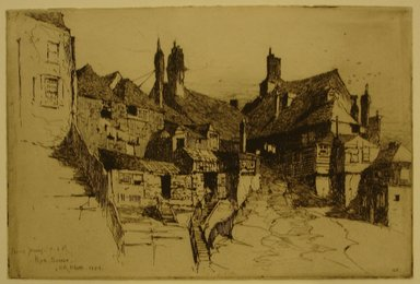 Charles Adams Platt (American, 1861-1933). Rye, Sussex, 1884. Etching on laid paper, Sheet and Image: 6 1/4 x 9 1/4 in. (15.9 x 23.5 cm). Brooklyn Museum, Gift of Frank L. Babbott, 19.116