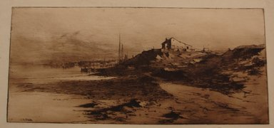 Charles Adams Platt (American, 1861-1933). Near Newport, 1882. Etching on yellow China paper, Image: 8 x 17 3/4 in. (20.3 x 45.1 cm). Brooklyn Museum, Gift of Frank L. Babbott, 19.135