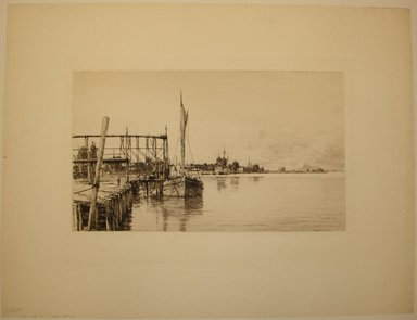 Charles Adams Platt (American, 1861-1933). Connecticut River, 1885. Etching on yellow machine-made Japan paper, Image: 10 13/16 x 18 5/16 in. (27.5 x 46.5 cm). Brooklyn Museum, Brooklyn Museum Collection, 19.141
