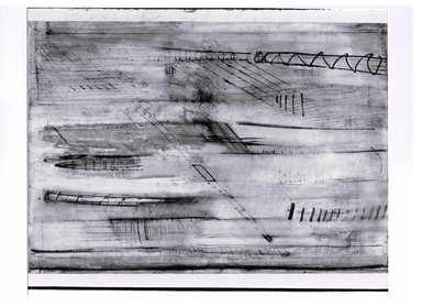 Ilana Salama Ortar (Egyptian, born 1949). Urban Landscapes, 1989. Ink, oilstick, graphite and gouache, 27 1/2 x 39 1/2 in. (69.9 x 100.3 cm). Brooklyn Museum, Gift of the artist, 1989.163a. © Ilana Salama Ortar