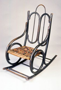 Tyler Desk Company. Child's Bentwood Rocking Chair, ca. 1885. Ebonized bentwood, original upholstery, 28 1/8 x 14 x 25 1/4 in. (71.4 x 35.6 x 64.1 cm). Brooklyn Museum, Gift of Joseph V. Garry, 1989.60.2. Creative Commons-BY
