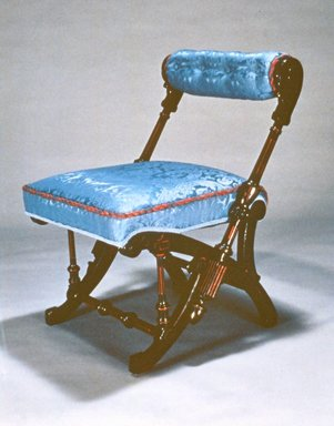 George Jacob Hunzinger (American, born Germany, 1835-1898). Side Chair, Patented March 30, 1869. Walnut, modern upholstery, 28 1/4 x 20 3/4 x 23 in. (71.8 x 52.7 x 58.4 cm). Brooklyn Museum, Gift of Isabel Shults, by exchange, 1989.74. Creative Commons-BY