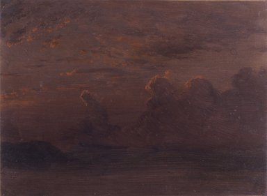 Albert Bierstadt (American, 1830-1902). Sunset - Last Reflections - Cloud Study. Oil on paper backed by board, 11 1/2 x 15 3/8 in. (29.2 x 39.1 cm). Brooklyn Museum, Gift of Mary Bierstadt, by exchange, 1990.101.1