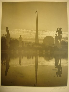 John Albok (American, born Hungary, 1894-1982). Freedom Square (World's Fair), 1938. Gold toned gelatin silver photograph, image: 13 1/2 x 10 1/2 in. (34.3 x 26.7 cm). Brooklyn Museum, Gift of Ilona Albok Vitarius, 1990.122.7. © Estate of John Albok