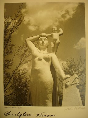 John Albok (American, born Hungary, 1894-1982). Sculptor's Vision, World's Fair 1939, 1939. Gold toned gelatin silver photograph, image: 13 1/2 x 10 1/2 in. (34.3 x 26.7 cm). Brooklyn Museum, Gift of Ilona Albok Vitarius, 1990.122.9. © Estate of John Albok