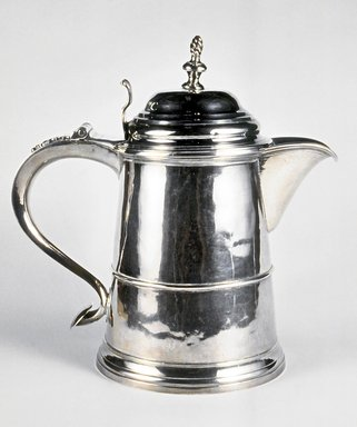 Samuel Minott (1732-1803). Tankard, ca. 1755. Silver, 9 x 9 x 5 5/16 in.  (22.9 x 22.9 x 13.5 cm) weight - 879.8gm (28.38oz.). Brooklyn Museum, Gift of Wunsch Foundation, Inc., 1990.155.1. Creative Commons-BY