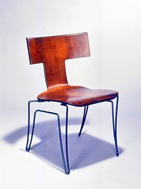 "Donghia Furniture. ""Anziano"" Side Chair, 1989-1990. Bent plywood, steel, rubber, 31 3/4 x 19 7/8 x 20 7/8 in. (80.6 x 50.5 x 53 cm). Brooklyn Museum, Gift of Donghia, 1990.190. Creative Commons-BY"