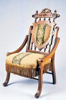 Edward W. Vaill (1861-1891). Folding Armchair (reception) (Renaissance Revival style), ca. 1875. Walnut, gilt decoration, original upholstery, 36 3/4 x 21 3/4 x 23 in.  (93.3 x 55.2 x 58.4 cm). Brooklyn Museum, Maria L. Emmons Fund, 1990.203. Creative Commons-BY