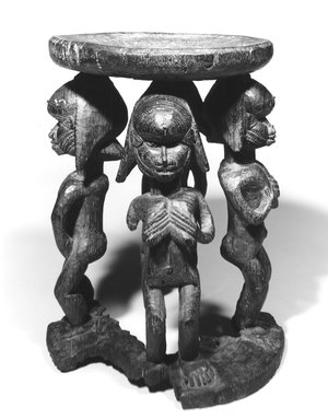 Baga. Caryatid Stool, 19th century. Wood, iron pegs, 16 x 12 in. (40.6 x 30.5 cm). Brooklyn Museum, Gift of Corice and Armand P. Arman, 1990.219. Creative Commons-BY