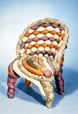 and Upholsterer Yves Marthelot (French, born 1949). Side Chair, ca. 1985. Fabric, metal frame, 30 3/4 x 23 x 20 in.  (78.1 x 58.4 x 50.8 cm). Brooklyn Museum, Gift of Mr. and Mrs. Bruce M. Newman, 1990.230.1. Creative Commons-BY