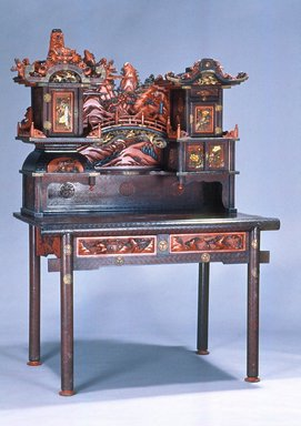 Kuhn & Komar. Desk, late 19th century. Lacquered wood, cinnabar lacquer, metal, 67 x 47 1/2 x 27 3/4 in.  (170.2 x 120.7 x 70.5 cm). Brooklyn Museum, Gift of Mr. and Mrs. Bruce M. Newman, 1990.230.13a-b. Creative Commons-BY
