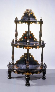 Etagere, ca. 1850. Wood, Papier Mache, Mother-of-pearl, 43 x 25 1/2 x 14 in. (109.2 x 64.8 x 35.6 cm). Brooklyn Museum, Gift of Mr. and Mrs. Bruce M. Newman, 1990.230.14. Creative Commons-BY