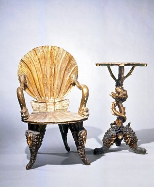 Possibly Pauley et Cie. Table, late 19th or early 20th century. Wood, silver leaf, 32 x 19 x 19 in.  (81.3 x 48.3 x 48.3 cm). Brooklyn Museum, Gift of Mr. and Mrs. Bruce M. Newman, 1990.230.7. Creative Commons-BY