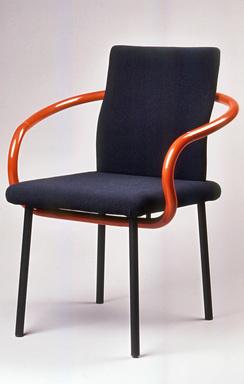 "Ettore Sottsass Jr. (Italian, born Austria, 1917-2007). ""Mandarin"" Armchair Prototype, ca. 1986. Painted wood, polyurethane foam, woven cloth, rubber, painted steel, 33 x 25 x 23in. (83.8 x 63.5 x 58.4cm). Brooklyn Museum, Gift of Knoll International, 1990.86.5. Creative Commons-BY"