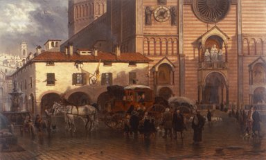 Edward Lamson Henry (American, 1841 - 1919). The Cathedral of Piacenza, 1868. Oil on panel, 10 13/16 x 18 in. (27.5 x 45.7 cm). Brooklyn Museum, Dick S. Ramsay Fund, 1991.125