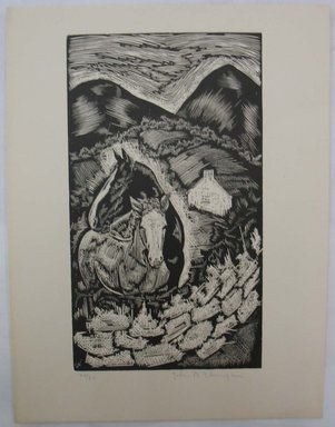 John B. Flannagan (American, 1895-1942). Two Horses on the Farm, n.d. Woodcut on wove paper, Image: 10 1/16 x 5 3/4 in. (25.5 x 14.6 cm). Brooklyn Museum, Gift of Gertrude W. Dennis, 1991.153.16