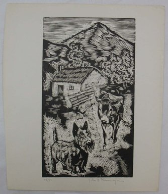 John B. Flannagan (American, 1895-1942). Cow and Dog on the Farm, n.d. Woodcut on wove paper, Image: 9 15/16 x 5 3/4 in. (25.3 x 14.6 cm). Brooklyn Museum, Gift of Gertrude W. Dennis, 1991.153.17