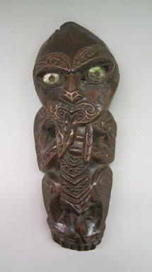 Maori. Figure, 19th century. Wood, paua shell, 12 15/16 x 5 1/4 x 1 3/16 in.  (32.8 x 13.4 x 3 cm). Brooklyn Museum, Gift of Armand and Corice Arman, 1991.169.4. Creative Commons-BY