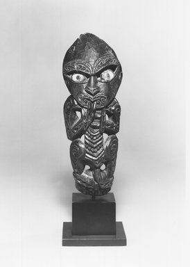 Maori. Figure, 19th century. Wood, paua shell, 12 15/16 x 5 1/4 x 1 3/16 in.  (32.8 x 13.4 x 3 cm). Brooklyn Museum, Gift of Armand and Corice Arman, 1991.169.4. Creative Commons-BY