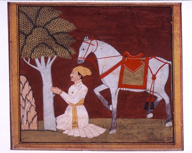 Bhagvan. Illustration from a Madhu-Malati Series, ca. 1799. Opaque watercolor and gold on paper, sheet: 6 1/2 x 8 5/8 in.  (16.5 x 21.9 cm). Brooklyn Museum, Gift of Martha M. Green, 1991.181.6