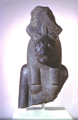 The Goddess Sakhmet, ca. 1390-1352 B.C.E. Granodiorite, 39 x 19 7/8 x 15 9/16 in., 443 lb. (99 x 50.5 x 39.5 cm, 200.94kg). Brooklyn Museum, Gift of Dr. and Mrs. W. Benson Harer, Jr. in honor of Richard Fazzini and the excavations of the Temple of Mut in South Karnak, Mary Smith Dorward Fund and Charles Edwin Wilbour Fund, 1991.311. Creative Commons-BY