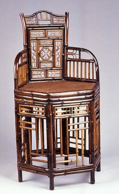 Chair, 19th century. Bamboo, other woods, and cane, 34 5/8 x 18 7/8 x 17 7/8 in.  (87.9 x 47.9 x 45.4 cm). Brooklyn Museum, Gift of Dr. and Mrs.  Gilbert H. Young, 1992.100. Creative Commons-BY