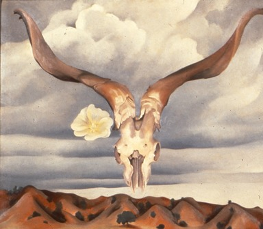 Georgia O'Keeffe (American, 1887-1986). Ram's Head, White Hollyhock-Hills (Ram's Head and White Hollyhock, New Mexico), 1935. Oil on canvas, 30 x 36 in. (76.2 x 91.5 cm). Brooklyn Museum, Bequest of Edith and Milton Lowenthal, 1992.11.28