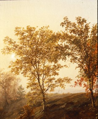 Jasper Francis Cropsey (American, 1823-1900). Autumn at Mount Chocorua, 1869. Oil on canvas, 23 13/16 x 44 1/4 in. (60.5 x 112.4 cm). Brooklyn Museum, Gift of Mary Stewart Bierstadt, by exchange, Dick S. Ramsay Fund, and Carll H. de Silver Fund, 1992.12