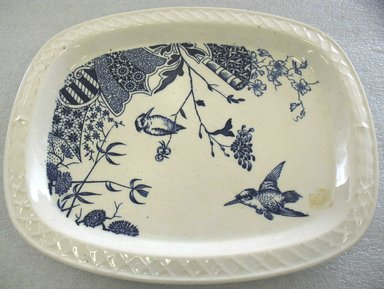 Edge Malkin & Company (1871-1903). Oblong Platter; Chalet Pattern, 1871-1903. Glazed earthenware with transfer printed decoration, 1 1/8 x 12 3/4 x 10 1/2 in. (2.7 x 32.4 x 26.7 cm). Brooklyn Museum, Gift of Paul F. Walter, 1993.209.29. Creative Commons-BY