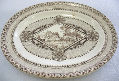 William Brownfield & Sons (1871-1891). Oval Platter; Wisconsin Pattern, 1882. Glazed earthenware with transfer printed decoration, 1 1/2 x 13 1/2 x 11 in. (3.8 x 34.3 x 27.9 cm). Brooklyn Museum, Gift of Paul F. Walter, 1993.209.31. Creative Commons-BY
