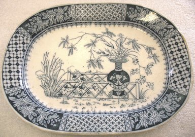W.T. Copeland & Sons Ltd. Spode Works. Oblong Platter, 1850-1867. Glazed earthenware with transfer printed decoration, 1 x 12 5/8 x 9 1/2 in. (2.5 x 32.0 x 24.1 cm). Brooklyn Museum, Gift of Paul F. Walter, 1993.209.33. Creative Commons-BY