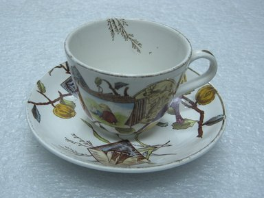 Teacup and Saucer; Pomegranate Pattern (from Complete Tea Service), ca. 1880. Glazed earthenware with transfer printed decoration, saucer:. Brooklyn Museum, Gift of Paul F. Walter, 1993.209.92a-b. Creative Commons-BY