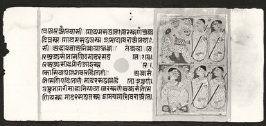 Page 86 from a manuscript of the Kalpasutra: recto text, verso image of monk preaching, 1472. Opaque watercolor and ink on gold leaf on paper, sheet: height: 4 3/8 in. Brooklyn Museum, Gift of Dr. Bertram H. Schaffner, 1994.11.94