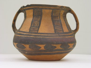 Jar with Two Loop Handles, Neolithic period, 3rd-2nd millenium B.C.E. Earthenware, black and black-purple painted decoration, height: approx. 4 1/4 in. Brooklyn Museum, Gift of Nicholas Grindley, 1994.148.1. Creative Commons-BY