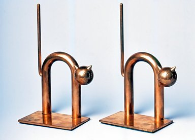 Walter von Nessen (American, born Germany, 1889-1943). Cat Bookend, One of Pair, 1930-1935. Copper-plated alloy, 7 3/8 x 4 1/2 x 2 1/2 in. (18.8 x 11.5 x 6.4 cm). Brooklyn Museum, H. Randolph Lever Fund, 1994.156.5. Creative Commons-BY